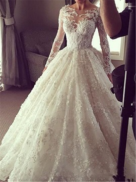 Sheer Bateau Neck Long Sleeve Lace Muslim Wedding Dress
