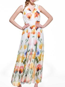 Floral Print V Empire Waist Maxi Dress