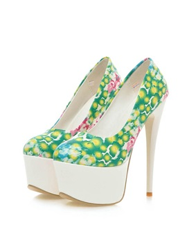 Floral Printed Platform Stiletto Heel Pumps