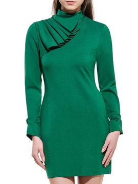 Solid Turtleneck Long Sleeve Ruffled Bodycon Dress