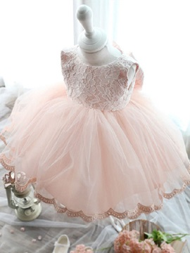 Cute Lace Top Bowknot Pink Flower Girl Dress
