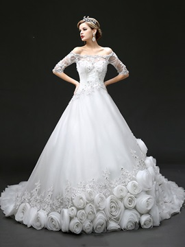 Scalloped Off The Shoulder Half Sleeve Floral Chapel Train Wedding Dress