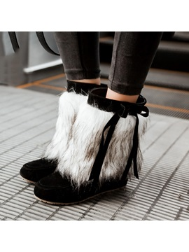 Faux Fur Bowknots Slip On Hidden Heel Booties