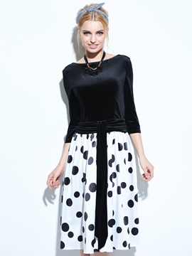 Backless Polka Dots 3 4 Sleeve Skater Dress