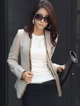 Cotton Blends Stylish Leopard Slim Blazer