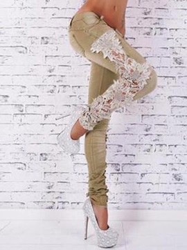 Chic Lace Designed Pencil Jean