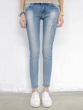 Chic Paint Splatters Worn Pencil Jean
