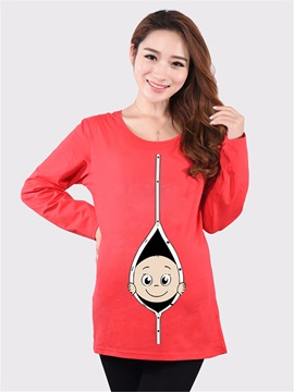 Cartoon Print Crew Neck Maternity T Shirt