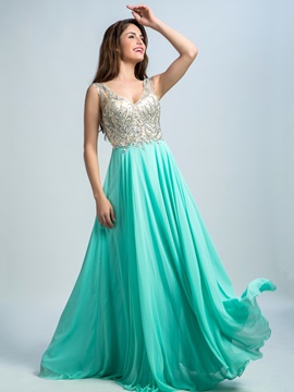 Modern Straps Beading Long Chiffon Prom Dress