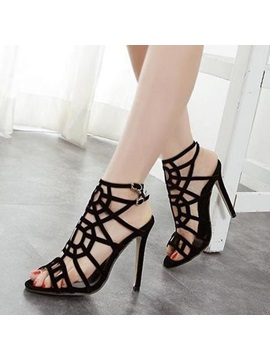 Black Strappy Stiletto Heel Sandals