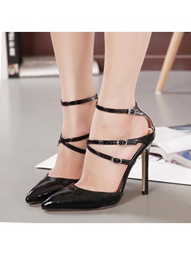 Strappy Pointed Toe Heel Covering Stiletto Heel Sandals