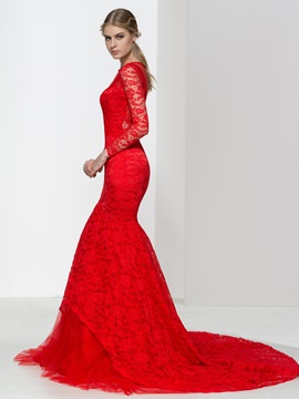Long Sleeves Jewel Red Lace Mermaid Court Train Evening Dress