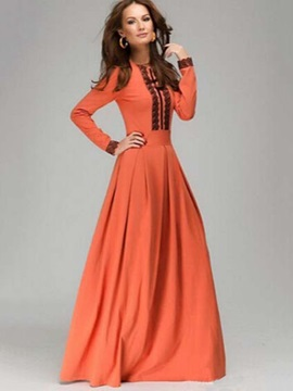 Chic Lace Patchwork Long Sleeve Womens Maxi Dress