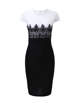 Chic Contrast Color Lace Work Bodycon Dress