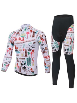 Chinese Cartoon Printed Cycling Outfit