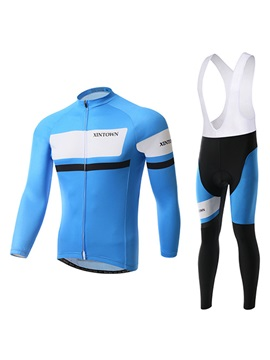 Blue Polyester Mens Winter Bike Outfit