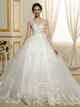 Beaded Lace Appliques Ball Gown Wedding Dress