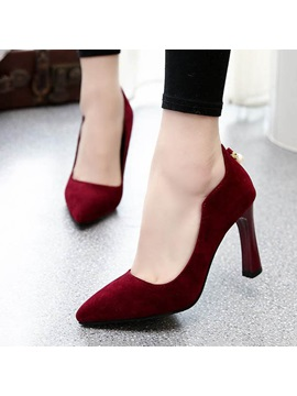 Suede Round Toe Slip On Pumps