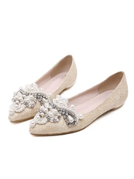 Beading Pointed Toe Slip On Lace Flats