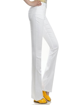 Solid Color Mid Waist Flared Pant