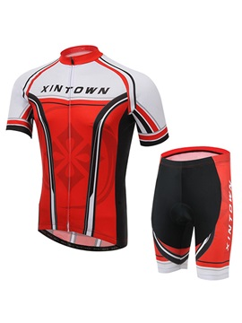 Polyester Summer Red Cycling Jersey And Shorts