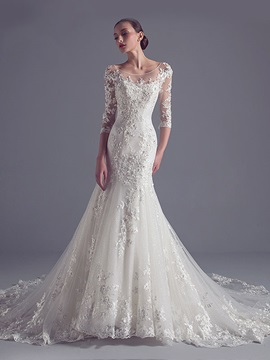 Illusion Neck Appliques Mermaid Bridal Gown