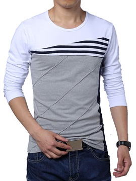 Color Block Stripe Decorated Mens Crew Neck Tee