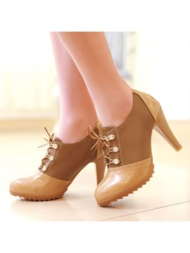 Pu Lace Up Round Toe Ankle Boots