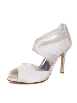 Lace Patchwork Peep Toe Charmeuse Wedding Shoes