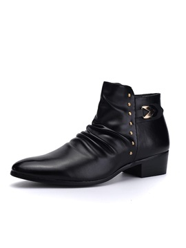 Black Studded Chunky Heel Mens Boots
