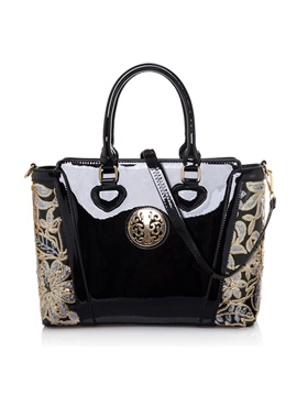 Hard Zipper Solid Women Satchel