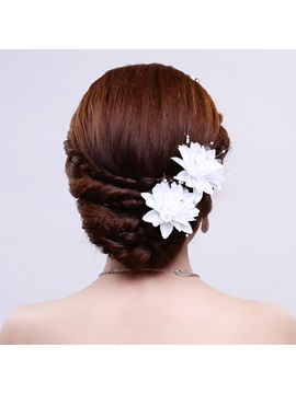 Beading White Cloth Wedding Hair Flower