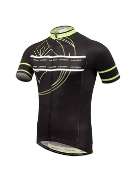 Polyester Black Short Sleeve Mens Cycle Jersey