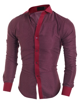 Dots Printed Color Block Placket Mens Casual Shirt