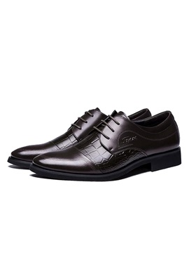 Embossed Pu Square Heel Lace Up Dress Shoes