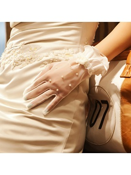 Ivory Tulle Wedding Gloves