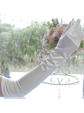 Plain Satin Long Wedding Gloves
