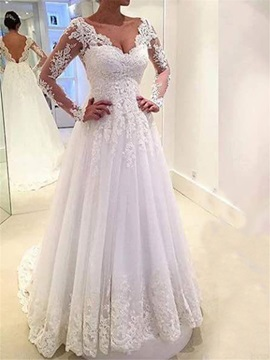 V Neck Backless Long Sleeve Wedding Dress
