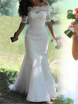 Off The Shoulder Lace Half Sleeve Trumpet Wedding Dress