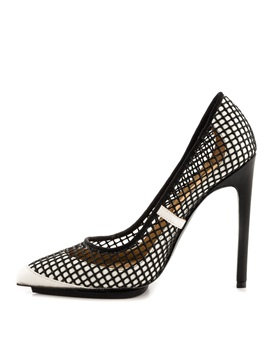 White Pu Patchwork Stiletto Heel Pumps