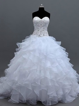 Fancy Sweetheart Beaded Cascading Ruffles Ball Gown Wedding Dress