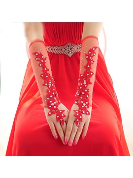 Beaded Lace Red Tulle Long Wedding Gloves