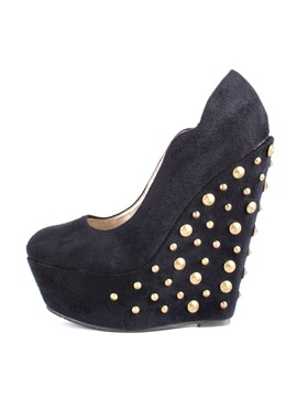 Suede Studded Slip On Wedges