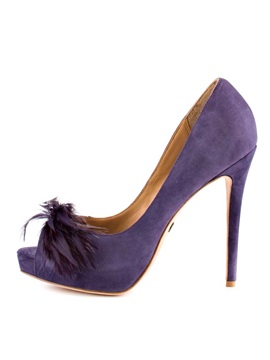 Purple Deco Leather Peep Toe Prom Shoes