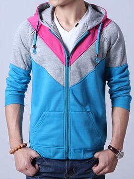 Color Block Lace Up Mens Cardigan Hoodie With Hat