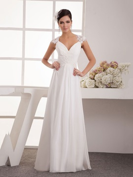 Floor Length A Line Ivory Chiffon Illusion Back Beach Wedding Dress