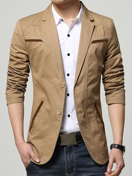 Solid Color Notched Collar Mens Two Buttons Blazer