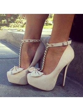 Bowknots T Strap Stiletto Heel Platform Shoes