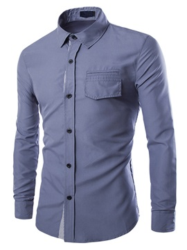 Overlapping Placket Chest Pocket Mens Casual Shirt