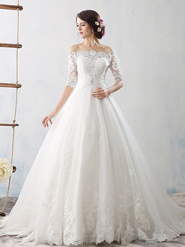 Ball Gown Half Sleeves Appliques Wedding Dress